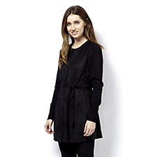 H By Halston Faux Suede Jacket Knitted Sleeves