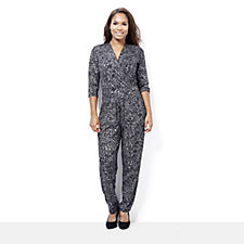 Kim & Co Foil Crepe Crossover Jumpsuit with Pockets