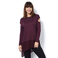 Label Lab Cold Shoulder Jersey Chiffon Mix Top