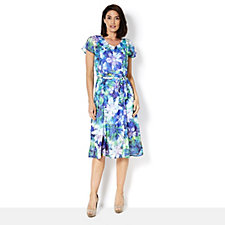Isaac Mizrahi Live Floral Printed Cold Shoulder Midi Dress