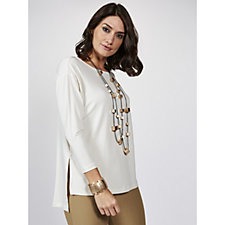 WynneLayers Matt Jersey Top with 3/4 Sleeve & Side Slit Detail