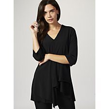 V Neck Tunic with Waterfall Detail by Michele Hope