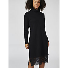 Isaac Mizrahi Live Knitted Roll Neck Jumper Dress with Lace Hem