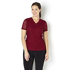 Short Sleeve Lace Top by Nina Leonard