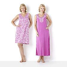 119208 - Carole Hochman Beaded Vines Print Mini & Maxi Gown Set