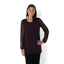Kim & Co Brazil Knit Mesh Sleeve Blouson Tunic