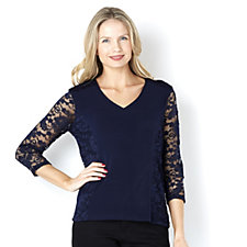 Fashion by Together Lace Panel Top