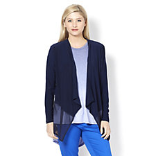 Cardigan with Wide Chiffon Hem by Nina Leonard