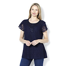 Fashion by Together Lace Detail Jersey Top