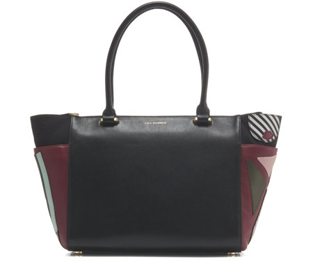 lulu guinness large becca leather pop out tote bag