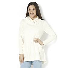 Isaac Mizrahi Live Long Sleeve Cable Cowl Neck Tunic