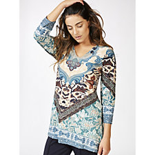 Attitudes by Renee 3/4 Sleeve V Neck Printed Tunic