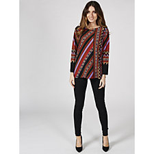 Bob Mackie Long Sleeve Stretch Crepe Printed Tunic