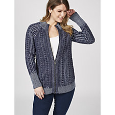 Isaac Mizrahi Live True Denim Plaited Cable Cardigan
