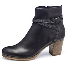 Manas Leather Ankle Boot with Croco Detail