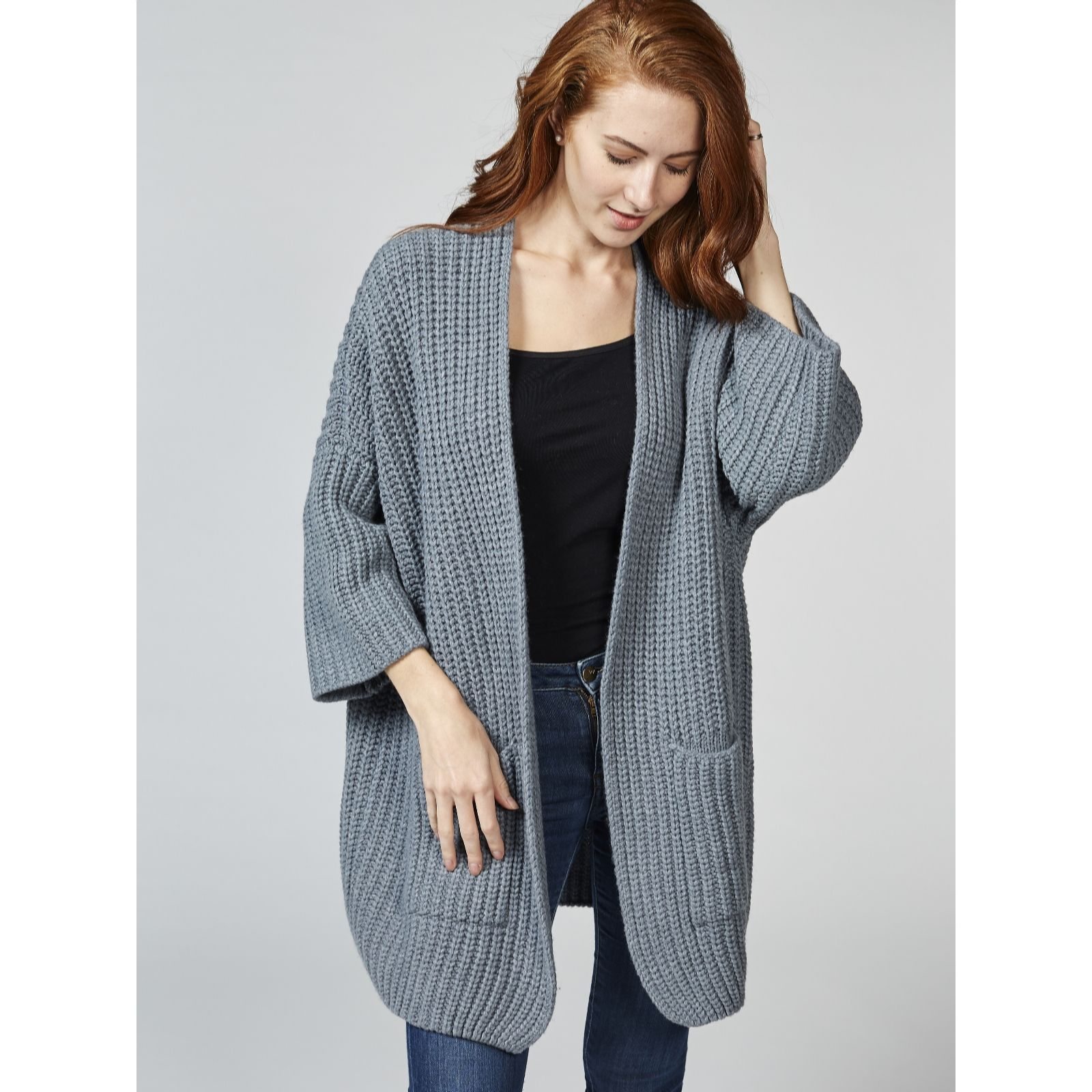 Dressage by Paul Costelloe Wool Blend Chunky Knit Cardigan - QVC UK