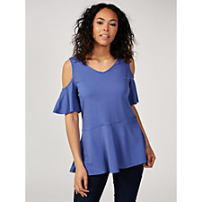Isaac Mizrahi Live Silky Knit Cold Shoulder Peplum Top