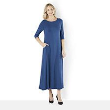 Join Clothes 3/4 Sleeve Drape Pocket Maxi Dress