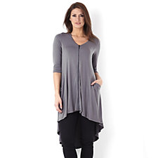 Join Clothes Drape Side Pocket Zip Front Dip Back Tunic