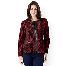 Bob Mackie Printed Zip Through Fleece Jacket
