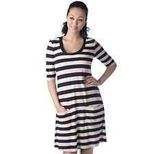 Ronni Nicole 'O So Slim' Stripe 3/4 Sleeve Dress with Pockets
