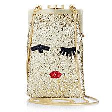 Lulu Guinness Ellie Small Glitter Tape Face Crossbody Bag