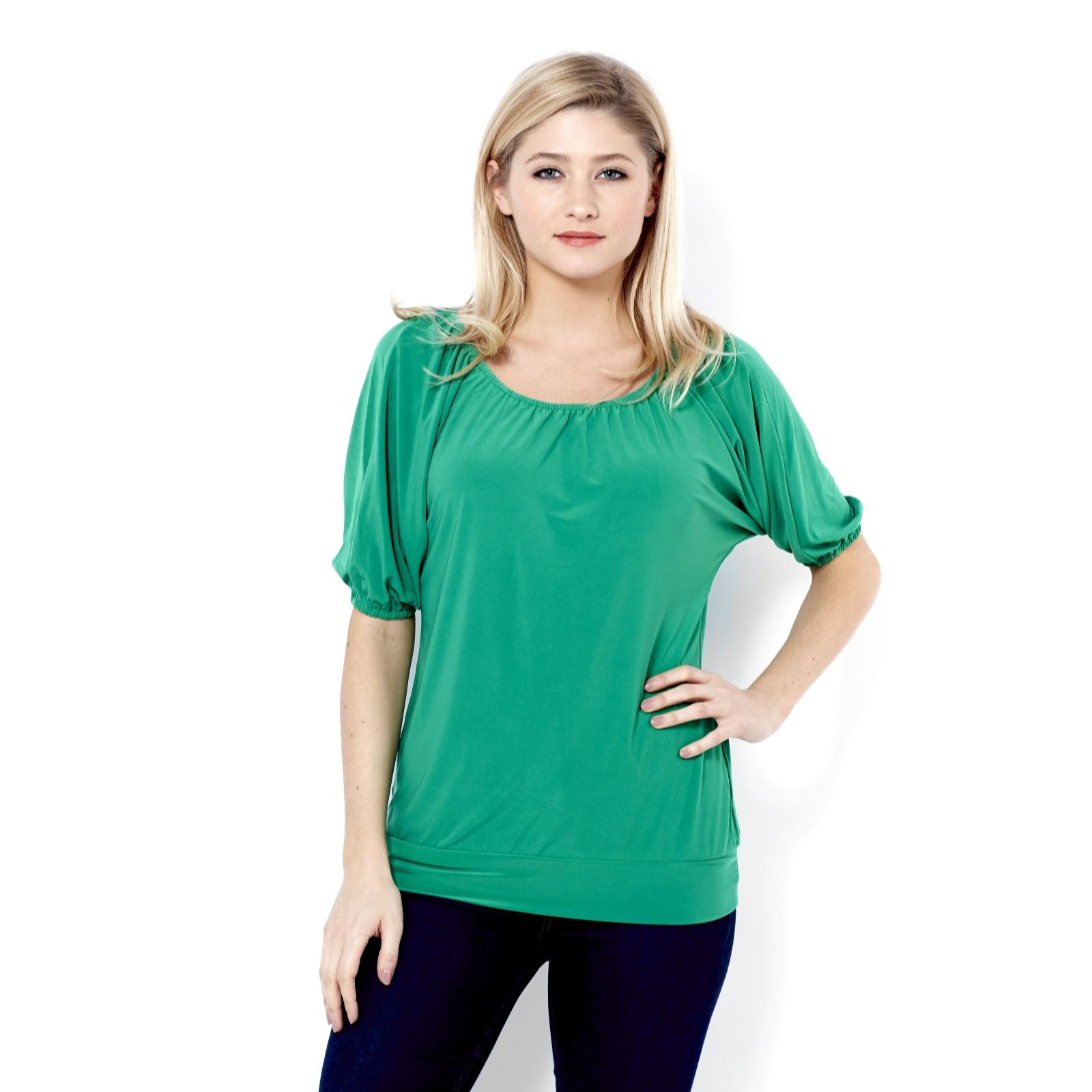 Blouson Top with Banded Hem & Scoop Neck by Nina Leonard