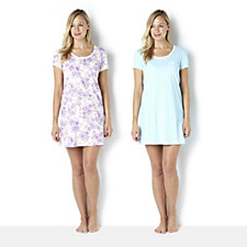 Carole Hochman Pack of 2 Nightshirts with Lace Trim