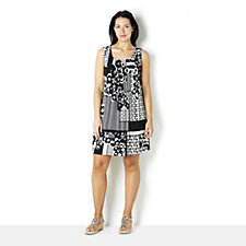 Ronni Nicole Sleeveless All Over Print Jersey Dress with Pintuck Detail