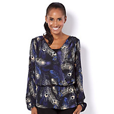 Biba Peacock Feather Printed Wrap Blouse