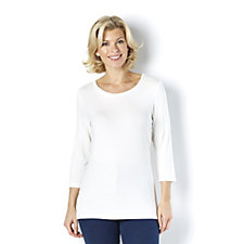 162209 - Essentials Scoop Neck 3/4 Sleeve Top by Nina Leonard