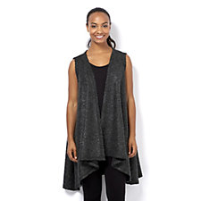 Join Clothes Stretch Metallic Boucle Knit Edge to Edge Waistcoat