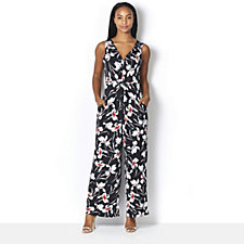 Kim & Co Venechia Iris Flowers Sleeveless Jumpsuit Petite