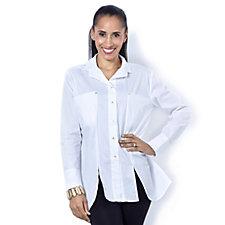 MarlaWynne Stretch Poplin Shirt with Front Pocket Detail