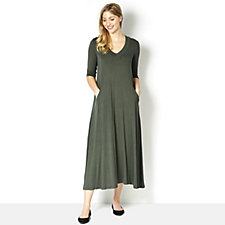 Join Clothes V Neck Maxi Dress with Seam Detail and Pockets