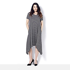 Short Sleeve Striped Trapeze Dress by Nina Leonard