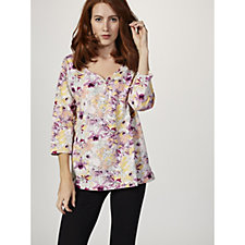Artscapes Orchids Print 3/4 Sleeve Y Neck Top