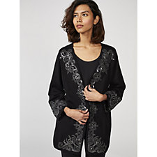 Bob Mackie Long Sleeve Cardigan with Lurex Embroidery & Sequin Detail