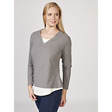Isaac Mizrahi Live True Denim Long Sleeve Colourblock Top