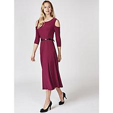 3/4 Sleeve Cold Shoulder Dress with Patent Slide Belt by Nina Leonard