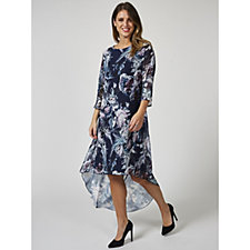 Grace 3/4 Sleeve Floral Print High Low Hem Tunic Dress