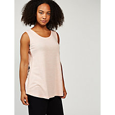 171309 - H by Halston Graphic Knit Sleeveless Top with Shiny Knit Panels