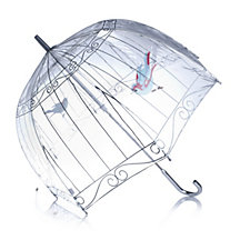 Lulu Guinness Birdcage Print Dome Umbrella with Hook Handle