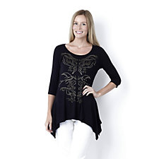 Antthony Designs 3/4 Length Sleeve Scoop Neck Sharkbite Hem Top