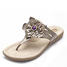 Earth Spirit Savannah Leather Flower Detail Thong Sandal
