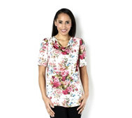 Kim & Co Tea Party Venechia Drape Neck Short Sleeve Top
