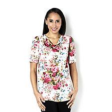 Kim & Co Tea Party Venechia Drape Neck Short Sleeve Top