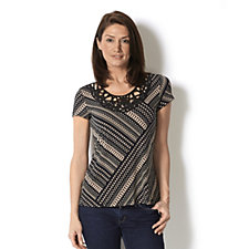 Short Sleeve Printed Top with Soutache Detail by Nina Leonard