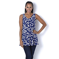 159210 - Kim & Co Dancing Daisies Brazil Knit Audrey Neckline Sleeveless Tunic