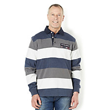 John Bradley Men's Peached Finished Stripe Rugby Shirt